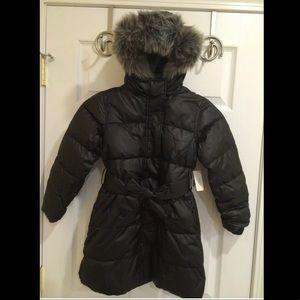 Old Navy Girl Long Belted Puffer Coat Fur Hood